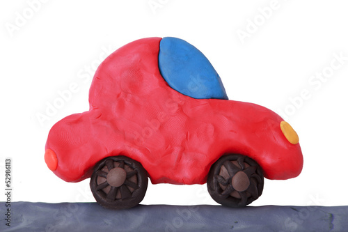 Red plasticine car