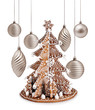 Gingerbread tree and Xmas silver decoration