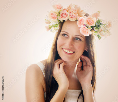 Beautiful  woman with flowers in their hair