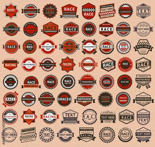 Poster Racing badges - vintage style, big set