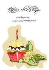 Cupcake, Muffin Geburtstagskarte