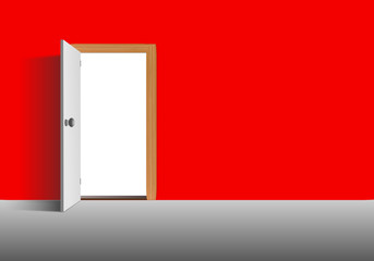 Rote Wand mit Tür