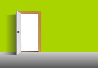 Grüne Wand mit Tür