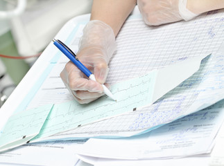 Work in the hospital. The paperwork of nurse and doctor.