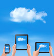 Cloud computing concept. blue sky and white cloud.