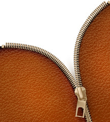 Brown leather texture background with zipper. Vector illustratio
