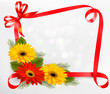 Holiday background with colorful flowers and red bow and ribbon.