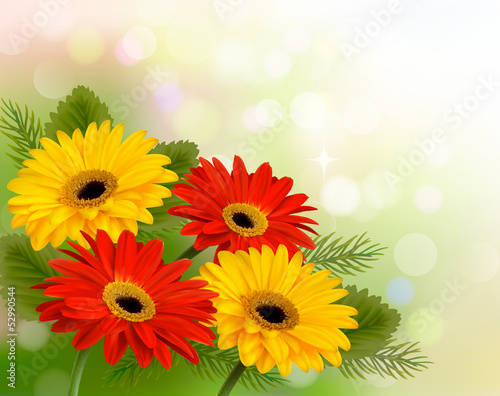 Nature background with colorful beautiful flowers. Vector illust