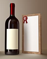 bottiglia di vino con lista