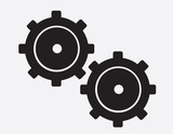 Large isolated black gears silhouette
