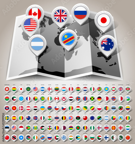 Map world with flags