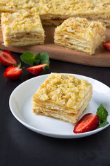 Mille-feuille puff pastry known as the Napoleon, vanilla  slice