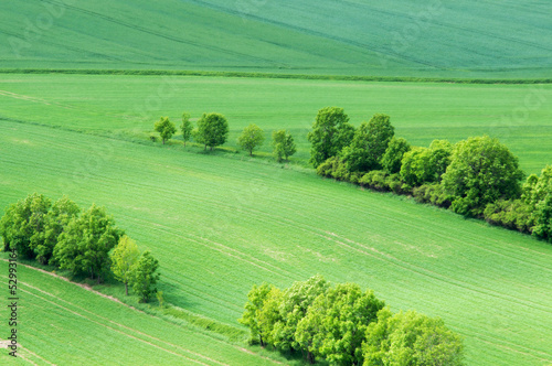 aerial view over rural field