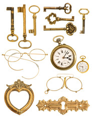 collection of golden vintage accessories
