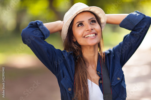 carefree young woman outdoors