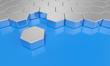 Sechseck Baustein Konzept - Silber Blau