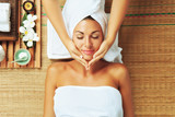 Fototapety portrait of young beautiful woman in spa environment.