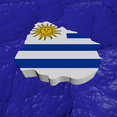 Uruguay map flag in abstract ocean illustration