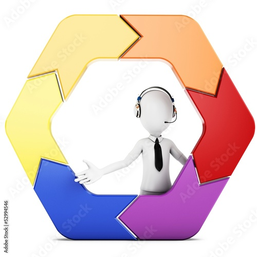 3d man with arrow hexagon