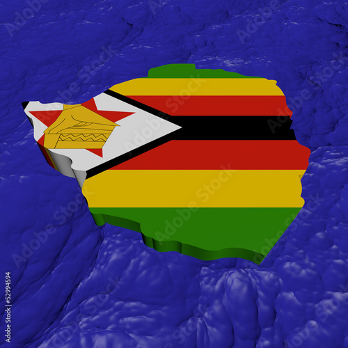 Zimbabwe map flag in abstract ocean illustration