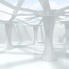 Modern Abstract Interior With Big Columns