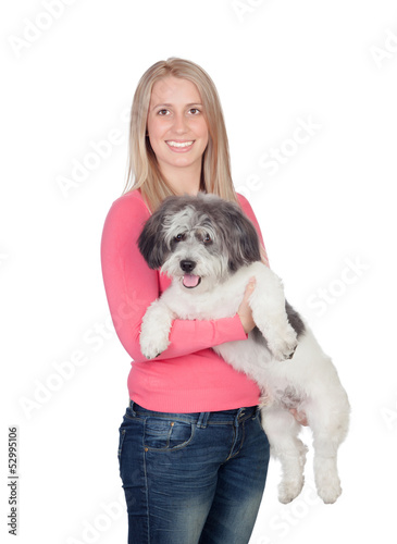 Attractive woman with her dog