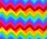 Oil painting vector rainbow zigzag pattern