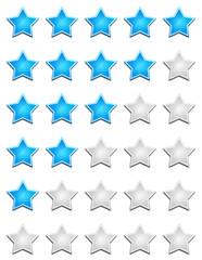 Blaue Sterne Bewertungssystem