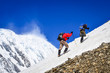 Two mountain trekkers on snow with peaks background - 52995572
