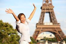 "Постер, картина, фотообои ""Travel Paris Eiffel Tower woman happy tourist"""