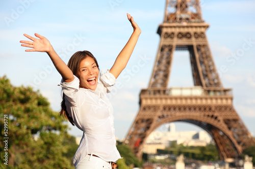 Travel Paris Eiffel Tower woman happy tourist