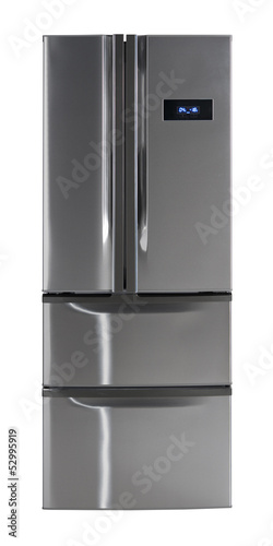 Side-by-side refrigerator isolated with clipping path.