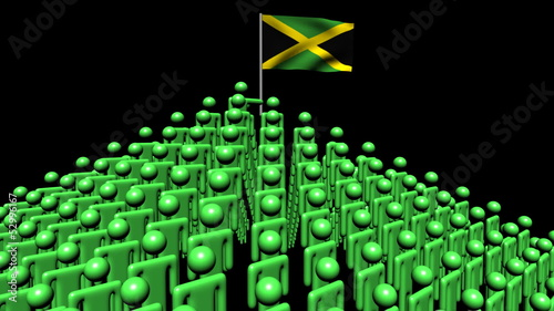 pyramid of men with rippling Jamaican flag animation