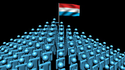 pyramid of men with rippling Luxembourg flag animation