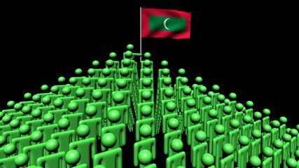 pyramid of men with rippling Maldives flag animation