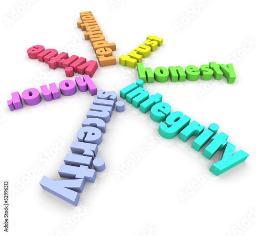 Integrity 3D Words Honesty Honor Reputation Sincerity