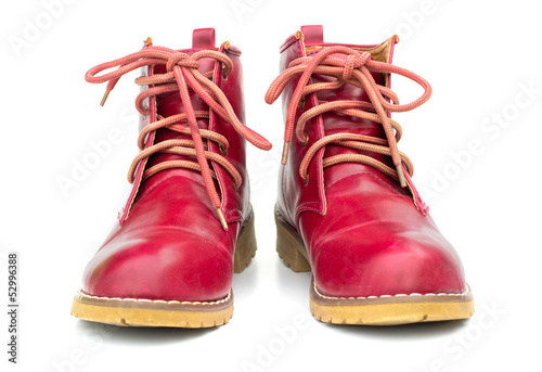 Red boots and untied shoelaces