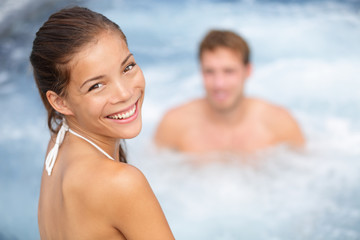 Spa resort  hot tub couple, woman and man