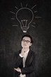 Asian smart businessman with lightbulb background