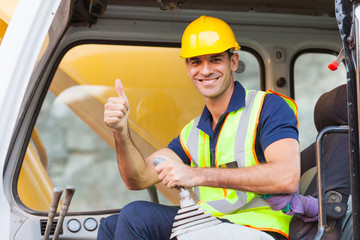 earthmover operator giving thumb up