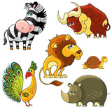 African wild cartoon animals characters set