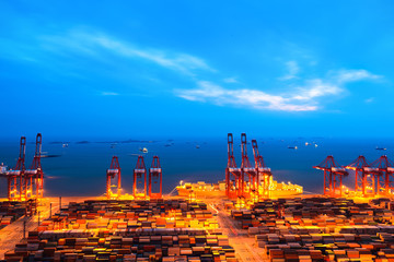 container terminal at nightfall