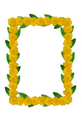 Yellow flowers and green leaves frame