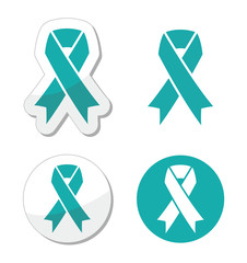 Teal ribbon - ovarian, cervical, and uterine cancers symbol