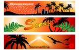 set of summer banner poster
