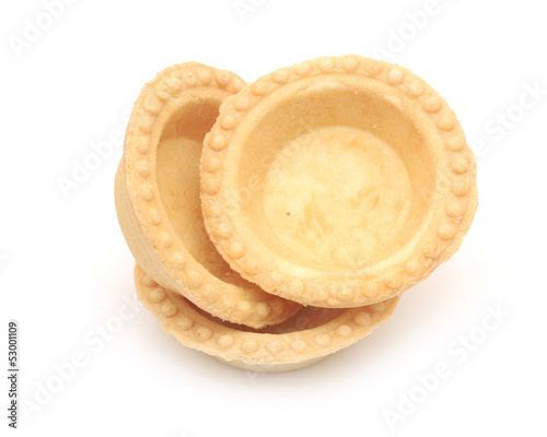 empty tartlet isolated on white