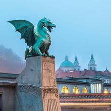 Dragon Bridge (Pont du Dragon), Ljubljana, en Slovénie.