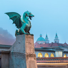 Dragon bridge (Zmajski most), Ljubljana, Slovenia.
