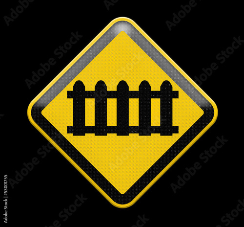 level crossing' sign, isolated on a pure white background.
