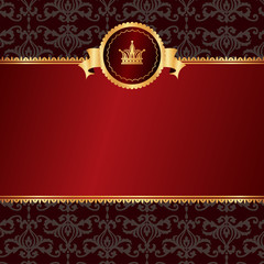 Vintage red background with frame of golden elements and crown w